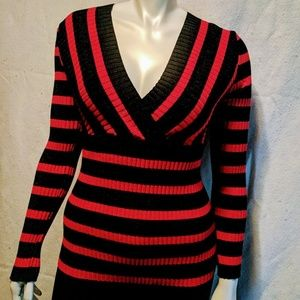 INC RED/BLACK STRIPES V - NECK FITTED SWEATERS